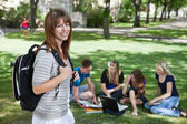 Young college girl at college campus — Foto Stock