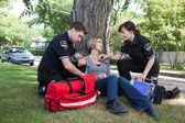 Certified First Responder with Patient — Stock Photo
