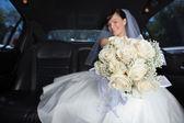 Bride Showing Flower Bouqet — Stock Photo