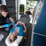 Senior Woman Receiving Emergency Medical Care — Stock Photo