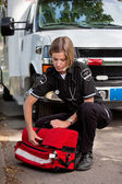 EMS Professional with Portable Oxygen Unit — Stock Photo
