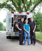 Ambulance Staff with Patient — Stock Photo