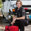 Confident EMS Paramedic Woman - Stock Photo