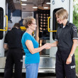 Stock Photo: Friendly Ambulance Worker