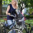 Stock Photo: College Student with Bike