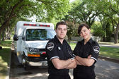 Paramedic Portrait with Ambulance — Stock Photo