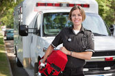 Paramedic with Oxygen Unit — Stock Photo