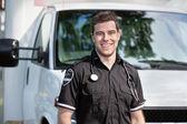Paramedic Man Standing near Ambulance — Stock Photo