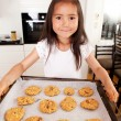 Cute Young Girl Baking Cookies — Stock Photo