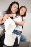Mother and Daughter Measuring Ingredient — Stock Photo