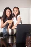 Baking Cookies Recipe on Digital Tablet — Stock Photo