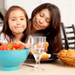 Mother Daughter Eating Meal with Strawberries — Stock Photo #7334372