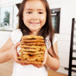 Cute Girl with Fresh Cookies — Stock Photo