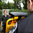 Portrait of Paramedic with Stretcher — Stock Photo