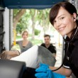 Paramedic in Ambulance with Patient — Stock Photo #7336088