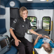 Senior Care in Ambulance — Stock Photo