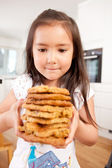 Young Girl with Homemade Cookies — Stock Photo