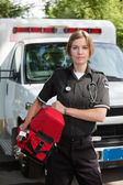 EMS Professional Woman with Oxygen Unit — Stok fotoğraf