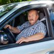 Stock Photo: Senior mdriving car