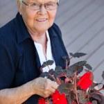 Elderly woman with flower pot — Stock Photo #7360082