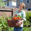 Senior Woman with Vegetables from Garden — Stock Photo