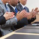 Business team applauding — Stock Photo