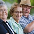 Senior friends sitting together in park - Stock Photo