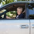 Stock Photo: Pretty senior womdriving car