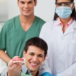 Patient showing dental molds — Stock Photo