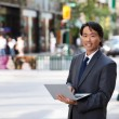 Business Man Portrait Outdoor with Laptop — Stock Photo