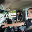 Female EMS Professional in Ambulance - Stockfoto