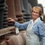 Senior Woman in Garden Center — Stock Photo
