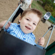 Portrait of Small Boy Swinging - Stock Photo