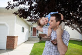 Father With Little Son on His Shoulders — Stock Photo