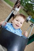 Portrait of Small Boy Swinging — Stock Photo