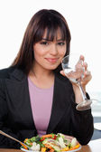 Smiling Businesswoman Having Glass of Water — 图库照片