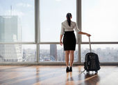 Businesswoman With Luggage Trolley — Stock Photo