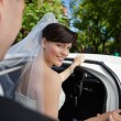 Bride Getting in Limo — Stock Photo