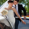 Affectionate wedding couple — Stock Photo