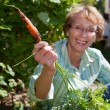 Senior woman holding carrot — Stock Photo