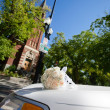 Wedding Limo by Church - Stock Photo