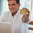 Man Making Online Purchases — Stock Photo