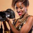 Model with DSLR Camera — Stock Photo