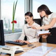 Stock Photo: Two Female Executives Working In Office