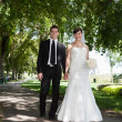 Стоковое фото: Newlywed Young Couple Holding Hands