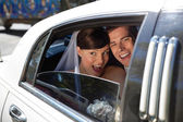 Newly weds laughing — Stock Photo