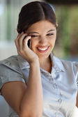 Happy Woman on Call — Stock Photo