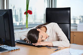 Tired Businesswoman Sleeping in Office — Stock Photo