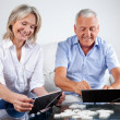 Stock Photo: Couple Playing Rummy