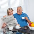 Stock Photo: Senior Couple Reading Newspaper